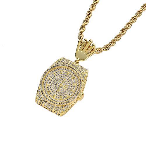 FIZZENN Unisex exquisiter Schmuck Hip Hop gefror heraus Bling Kupfer-und Micro-Intarsien Zirkon-Uhr-Anhänger mit 60 cm Edelstahl-Seil-Ketten,Gold