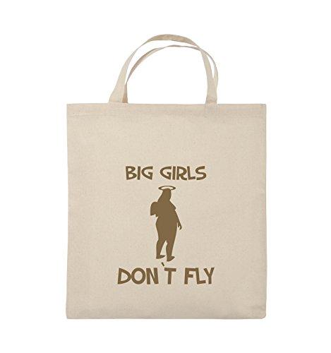 Comedy Bags - BIG GIRLS DON'T FLY - Jutebeutel - kurze Henkel - 38x42cm - Farbe: Schwarz / Silber Natural / Hellbraun