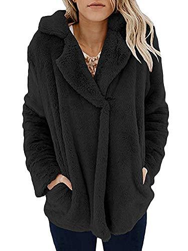 Minetom Femme Manteau Manche Longue Streetwear Jacket Cardigan Mode Hiver Chaud Col Revers Teddy Peluche Blouson Coat Fourrure Veste Épaissir Parka Noir FR 36