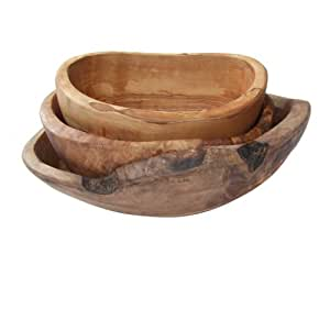 Naturally Med - Set di 3 ciotole rustiche in legno d'ulivo