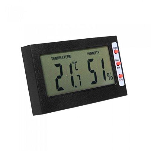 Wetterstation Funk LCD Bildschirm Multifunktional Control Thermometer Hygrometer Rechteckig digitales Hygrometer für den Innenbereich (Schwarz)