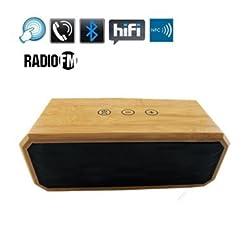 Bluetooth Sprecher, Beweglicher Nfc Wireless-surround Stereo Bamboo-lautsprecher Mit 2 X 5w Treiber Lautsprechertelefon, High-def Ton Erhöhte Bass-resonator Mit Eingebautem Mikrofon Für Indoor Outdoor Musik-streaming