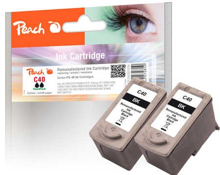 Peach PI100-204 Print Head Cartridge for Canon PG-40 - Black (Pack of 2)