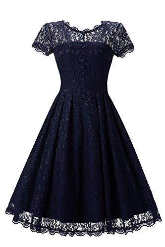 Gigileer Elegant Damen Kleider Spitzenkleid Cocktailkleid Knielanges Vintage 50er Jahr hochzeit Party blaue XL