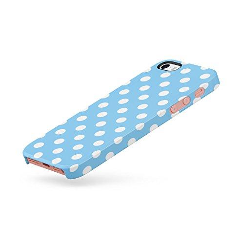 Baby Blue Polka Dots Pattern Custodia Posteriore Sottile In Plastica Rigida Cover Per iPhone 5 & iPhone 5s & iPhone SE Slim Fit Hard Case Cover Baby Blue Dots