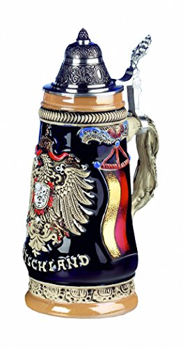 German Beer Stein Deutschland Monarchy Eagle Stein 0.5 liter tankard, beer mug