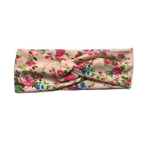 verschränkt Blumenmuster Stirnband Headwrap elastische breite Haarband Kopfbedeckung Sommer-Haar-Band-Bindung (Blume Gilr Kleider)