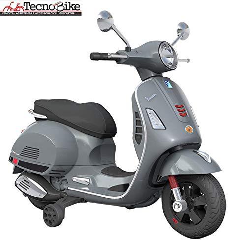 Tecnobike Shop Moto Elettrica Piaggio per Bambini Vespa GT GTS Sport 12V con Rotelle Luci Suoni Ingresso Mp3 (Grigio)