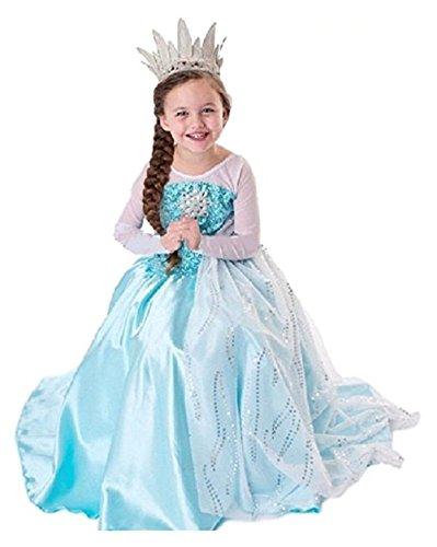 MNTLLBNC COSTUME FROZEN ELSA TAGLIA 110 3-4 ANNI REGINA DELLE NEVI VESTITO CON STRASCICO BIANCO BIMBA DRESS GIRL GLITTER BAMBINA