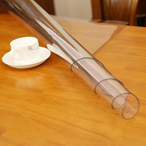 Transparent PVC Film Tischdecke 1,8 mm Tischfolie Schutzfolie Tischschutz Glasklar Folie Lebensmittelgeeignet (90 cm, 140 cm)