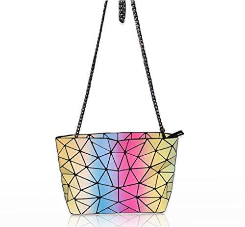 Mode Trend Weiblich Regenbogen Tasche Laser PU Leder Steigung Leuchtend Schultertasche Lingge Messenger Kette Paket A