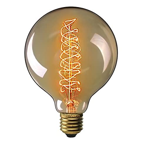 Elfeland Ampoule Edison Vintage,E27 40W Ampoule Décorative, Grand Globe Blanc Chaud Dimmable, Idéal pour la Nostalgie et Rétro Eclairage, Filament en Spirale, Modèle G125