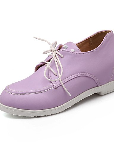 ZQ Scarpe Donna - Stringate - Ufficio e lavoro / Formale - Punta arrotondata - Zeppa - Finta pelle - Nero / Rosa / Viola / Bianco , purple-us10.5 / eu42 / uk8.5 / cn43 , purple-us10.5 / eu42 / uk8.5 / black-us6.5-7 / eu37 / uk4.5-5 / cn37