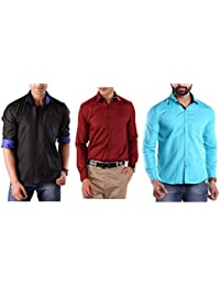 Discount On # Premium Combo Of 3 Stylish Shirts For Men By Mark Pollo London(Black,Mehrun,Tourquise)