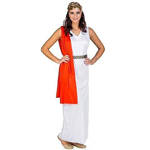 Frauenkostüm römische Göttin Venus | Aufgenähte, rote Schärpe | Bindegürtel mit Brokatmuster | Goldenes Lorbeer Haarband (XXL | Nr. (Göttin Kostüm Zubehör)