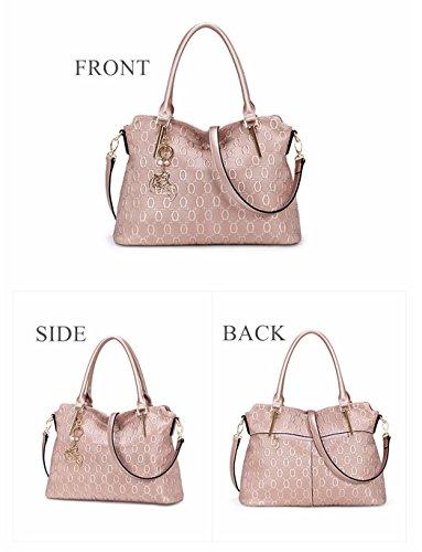 MATAGA Sacs à main pour femmes Grand sac en cuir Fourre-tout Crossbody Sac pour dames amovible Ceinture JHFX958073 (Rose or) noir