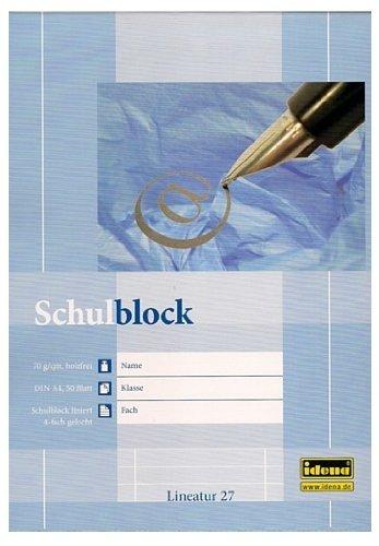 10 Stück Schulblock A4 liniert gelocht mit Rand