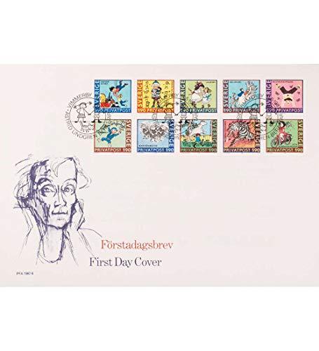 Goldhahn Schweden Nr. 1431-1440 FDC Ersttagsbrief Astrid Lindgren Kinder Briefmarken für Sammler -