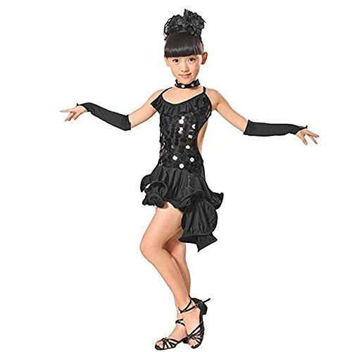 Kostüm Rock Tanz Star - Kinder tanzen Kostüme Kinder Mädchen Latin Ballett Kleid Asymmetrische Rüschen Pailletten Rumba Salsa Samba Ballsaal Dancewear Tutu Kleid Leistung Wettbewerb Tanz Kostüm Kleid-Trikot-Rock