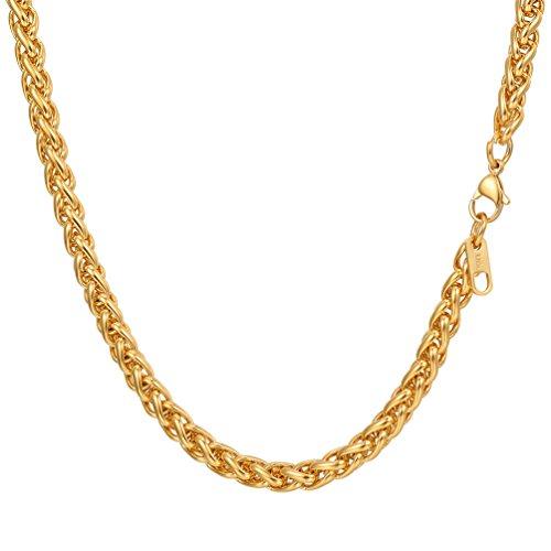 PROSTEEL Herren 6mm Weizenkette Halskette 18k vergoldet Edelstahl Simpel Gliederkette 61cm Kettelänge, Gold