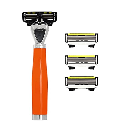 Shave-Lab Aon Wild Orange Safety Razor for Men with 4x P.6 Blades for a Clean Facial Shave