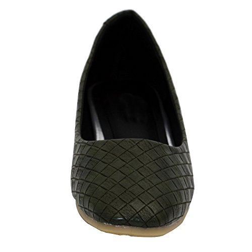 AalarDom Damen Quadratisch Zehe Ziehen Auf Pu Leder Rein Ohne Absatz Flache Schuhe Armeegrün