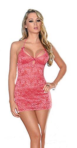 Escante Spitzen-bh (Escante Damen Unterkleid mit Spitze und Schleifen aus Satin - Pink - Groß)