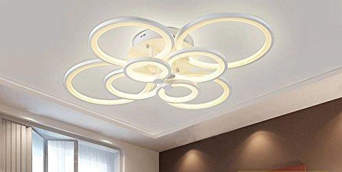 Gowe Luxus LED abajur Kronleuchter Deckenleuchte lustres für Home Dekoration Modern Creative LED Deckenleuchte Lampe für Wohnzimmer Lampenschirm Farbe: Weiß; Body Farbe: 8Kreise -