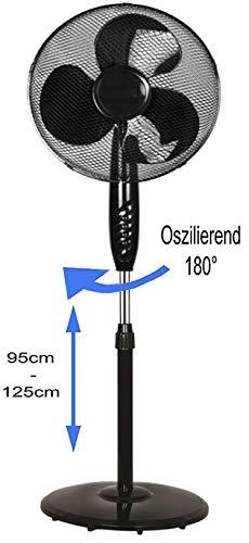 Standventilator Ø41 cm | Leiser Betrieb | Ventilator | 180° Rotation | Windmaschine | Luftkühler | Klimagerät | Turmventilator | Bodenventilator | Fan | 3 Stufen | Höhenverstellbar |