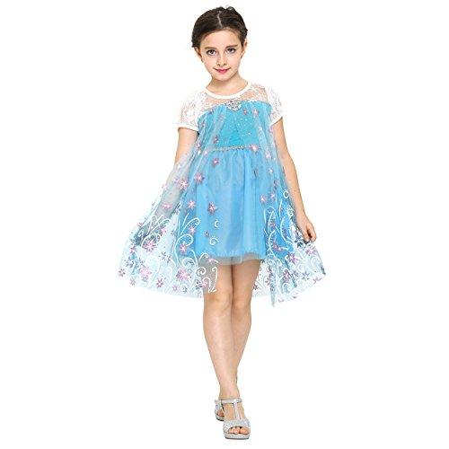 Katara 1698 Abito Primaverile per Bambine, Il Vestito di Principessa Elsa Frozen, Costume da Principessa, Abito da Principessa per Feste a Tema, Carnevali, Compleanni, turchese- per bambine da 6-7 anni