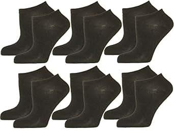 12 Paar DAMEN-HERREN Sneaker-Socken in den Farben WEISS oder SCHWARZ. Füßlinge mit hohem Baumwoll Anteil 43/46,Schwarz