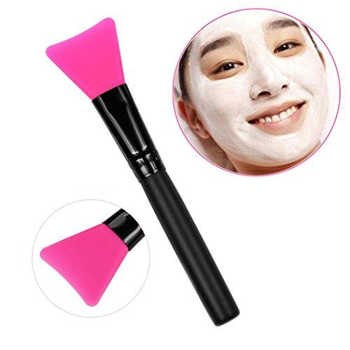 ♥Xjp 1pc Poignée en bois brosse à masquer le masque facial♥ (Rose vive)