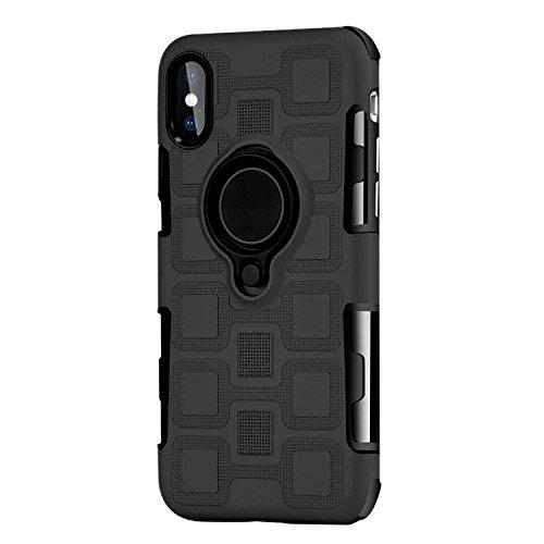 JINXIUCASE Handyhülle Fall, Armour Dual Layer 2 in 1 Schutzhülle mit drehbarem Fingerring Halter Ständer passend für magnetische Auto Halterung für iPhone X/XS (Farbe : Schwarz)
