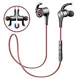 SoundPEATS Q12 Bluetooth Kopfhörer Sport Magnetischer Ohrhörer in Ear Ohrhörer mit Mikrofon, APTX Technologie und Geräuschdämpfung Technologie CVC 6.0, Stereo-Sound Top-Qualität (Rot)