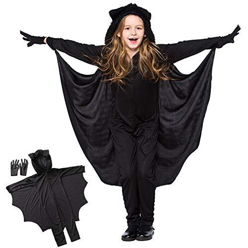 (AmidonR Kinder Fledermaus Jumpsuit, Halloween Cosplay Kostüm, Anzug für Jungen Mädchen, mit Handschuhen)