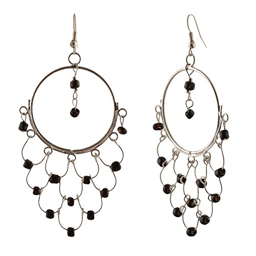 Zephyrr Jewellery Dangler Hook Earrings for Women Handmade Lightweight with Beads