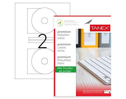 TANEX TW-2116 DVD/CD/Blu-ray/Multimediaetiketten (116 x 41 mm) weiß, 50 Etiketten, 25 Blatt DIN A4, bedruckbar, selbstklebend (Dvd-drucker-etiketten)