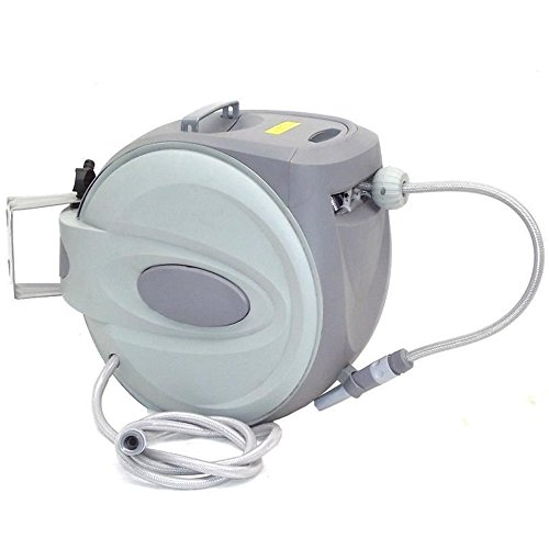 Automatischer Schlauchaufroller, CRAVOG Schwenkbare Schlauchtrommel inclusive Wasserschlauch mit ½ Zoll Anschluss für Garten (40m)