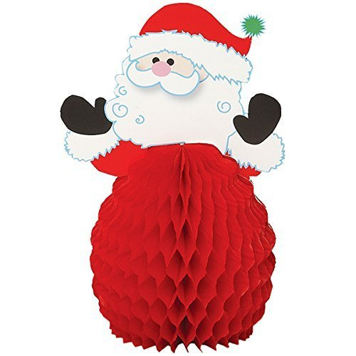 6 x Mini Honeycomb Santa Decorations