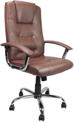 Eliza Tinsley - Silla de oficina (superficie de piel, respaldo alto, base de cromo), color marrón