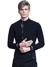 FANZHUAN Chemise Noire Homme Fashion Slim Fit Vintage en mode de broderie noire avec des Longues Manches