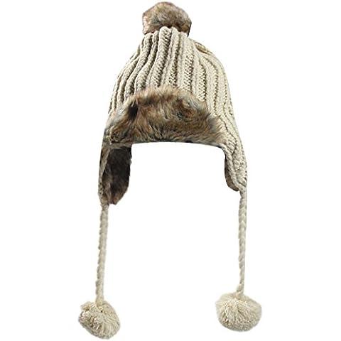 Womens piel de invierno Bomber Trapper Federación tejer orejeras Esquí Pom Pom Beanie Hat beige