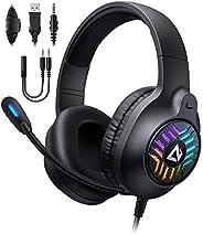 AUKEY Cuffie Gaming RGB con Audio Stereo & Driver da 50mm, Cuffie da Gaming con Microfono a Cancellazione
