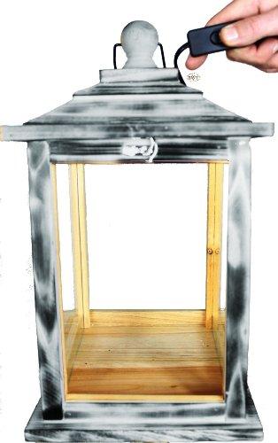 KLG-OFOS-HELLGRAU Holzlaterne, mit Beleuchtung 220V, Laterne aus Holz mit Holz - Deko aus Holz hellgrau weiss weiß - grau Lasur, Setzkasten Antik - Look
