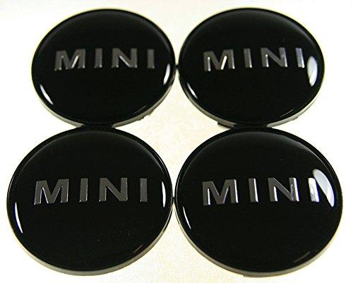 schelbe Lot de 4 Moyeux Centre de Roue Mini (BMW) 55mm Couleur Logo Chrome Fond Noir.