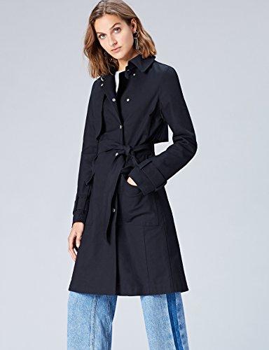 FIND Mantel Damen Trenchcoat Style mit asymmetrischem Cape und Gürtel Blau (Navy), 34 (Herstellergröße: X-Small) - 4
