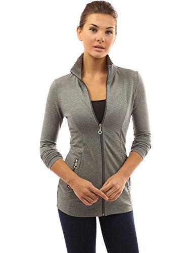 PattyBoutik Donne tasche colletto della giacca informale zip grigio melange