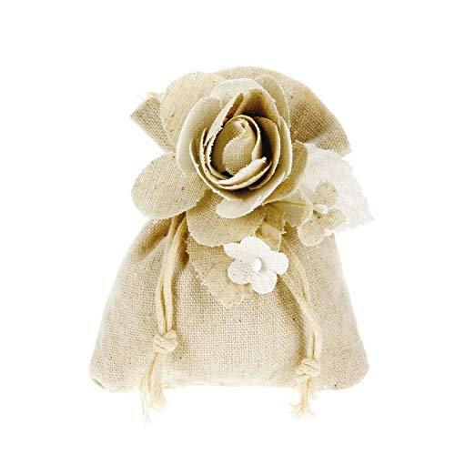 Alice's decorations Bomboniere Fai da Te sacchettino in Cotone Completo di Fiori Confezione da 20 Pezzi