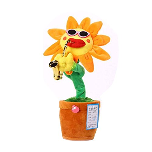Igemy 60chansons chantant et dansant Fleur avec Saxophone en peluche Funny électrique jaune