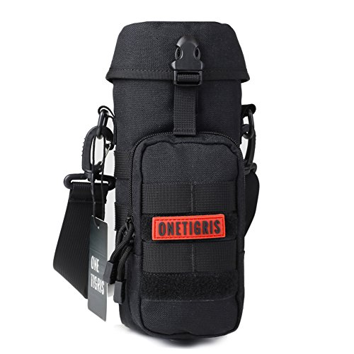 OneTigris Outdoor Trinkflasche Halter 1000D Nylon Taktische MOLLE Wasserkocher Tragbar Aufbewahrungstasche mit Schultergurt (Schwarz)
